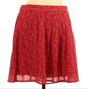 Old Navy Floral Skirt Red A-Line Stretch Waistband